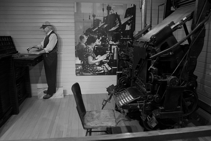 Given my journalism background, an old printing press also caught my eye.