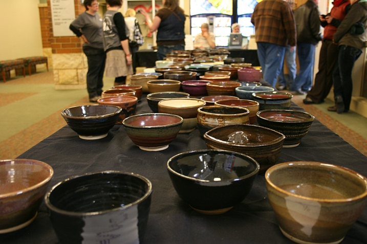 The selection of bowls remaining when we arrived at noon, an hour after doors opened.