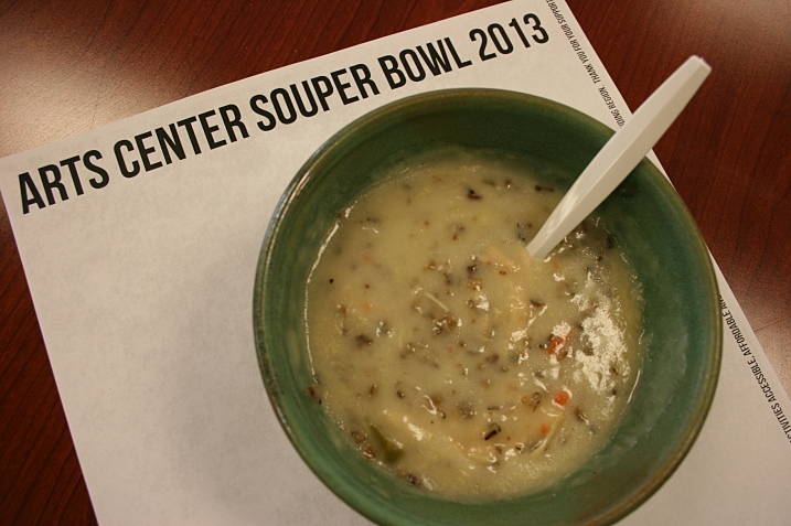 The hand-thrown pottery bowl I chose at the Souper Bowl for my chicken wild rice soup.