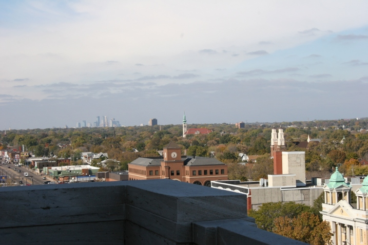 Both of the Twin Cities can be seen in this view taken from the state capitol. You can see the downtown Minneapolis skyline in the distance.