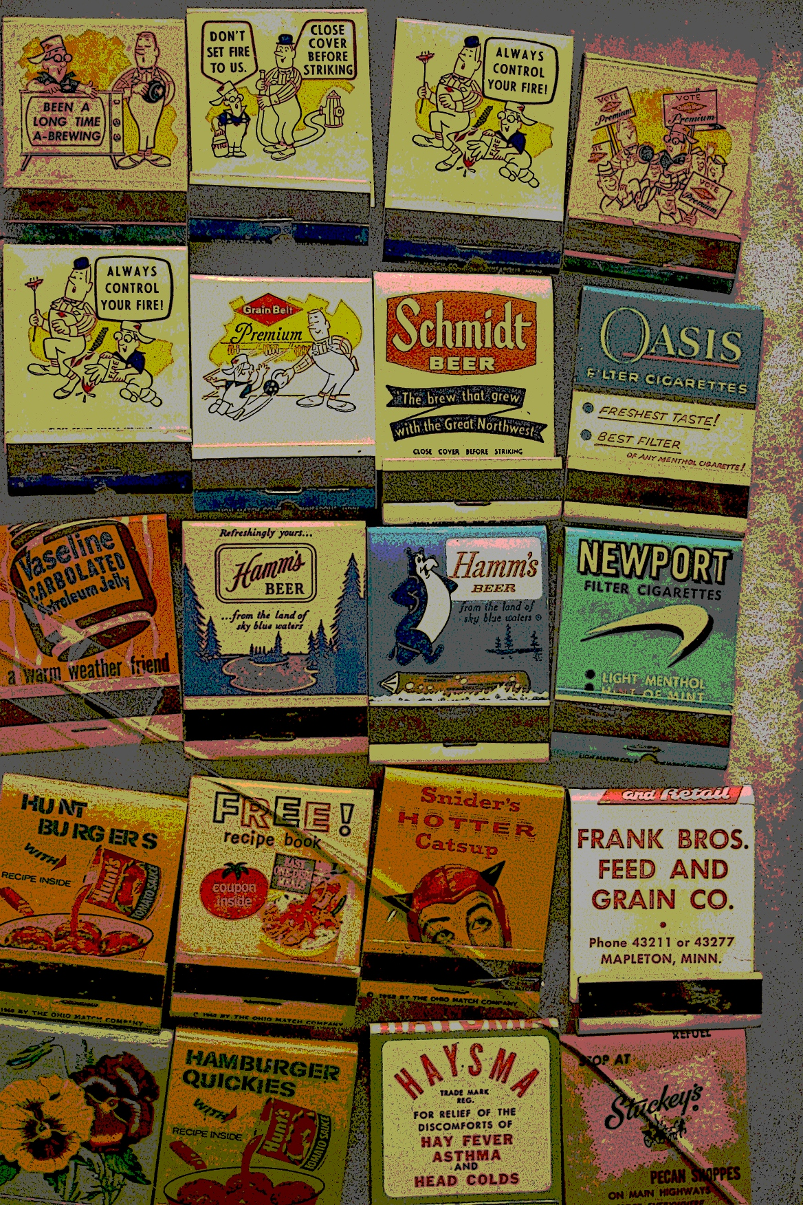 An edited photo of vintage matchbooks. Love those graphics.