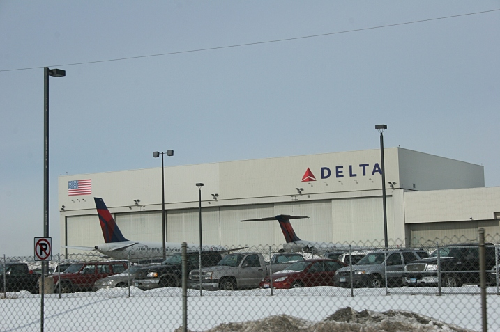 My daughter didn't fly Delta. But these are the only planes I saw when leaving Minneapolis St. Paul International Airport after my husband and I dropped her off.