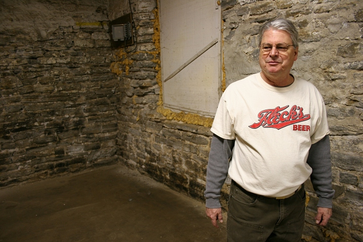 David Hvistendahl, from whom Patriot's is renting space for the brewery, sports a Fleck's beer t-shirt. A line of Fleck's Hvistendahl and a partner plan to eventually open an event center int he space above the brewery.