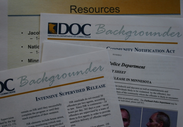 Informational sheets distributed at Thursday's community notification meeting.
