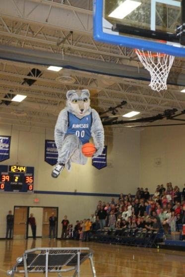 Timberwolves mascot Crunch during an earlier appearance at Lakeview.