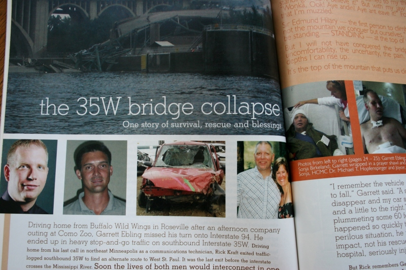 This photo shows the opening spread of the feature article published in the November/December 2007 issue of Minnesota Moments. Casey McGovern of Minneapolis shot the bridge collapse scene. To the far left is Garrett before the collapse, to the right, his rescuer. The next photo shows his Ford Focus which plummeted into the Mississippi River. And to the right are Garrett and Sonja, before the collapse.