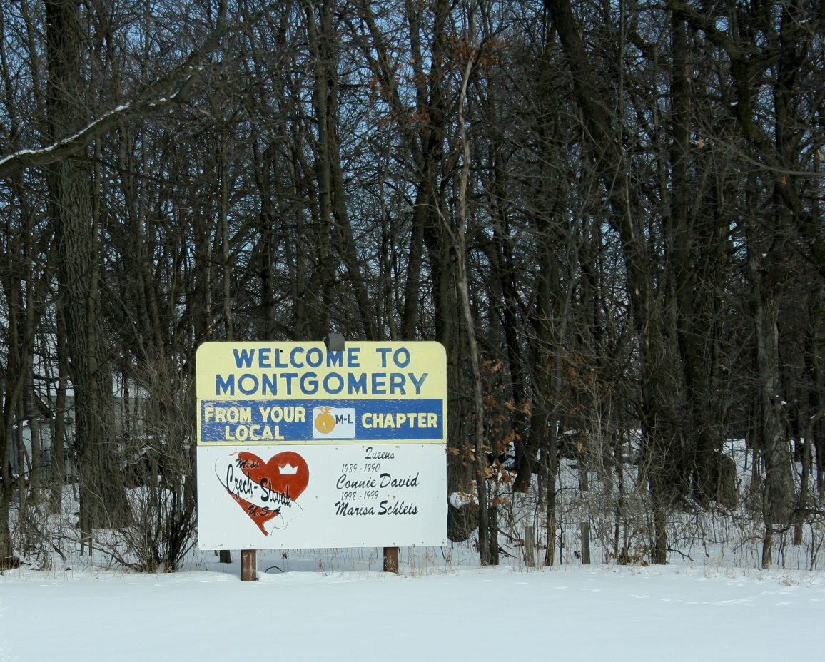 A sign just off Minnesota Highway 13 welcomes travelers to Montgomery.