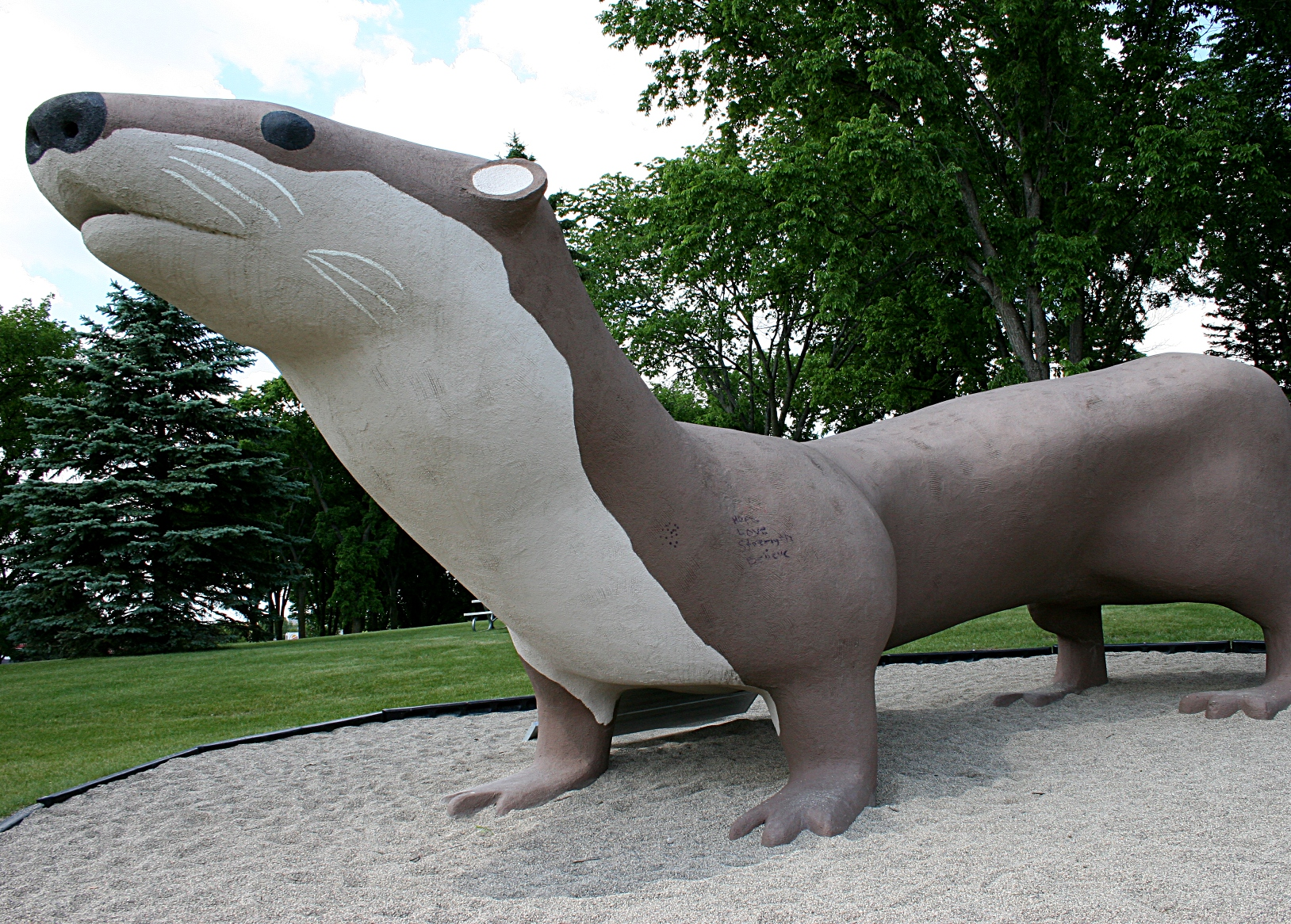 The Otto the otter statue in Adams Park in Fergus Falls. The Otter Tail River runs through this city where the Fergus Falls High School mascot is the otter.
