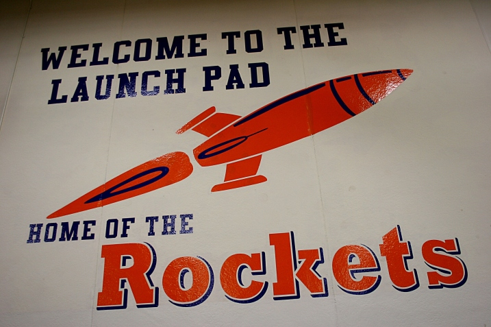 I photographed this logo a year ago at Randolph Public Schools, home of the Rockets.