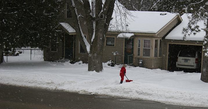 Shoveling the driveway, take three.
