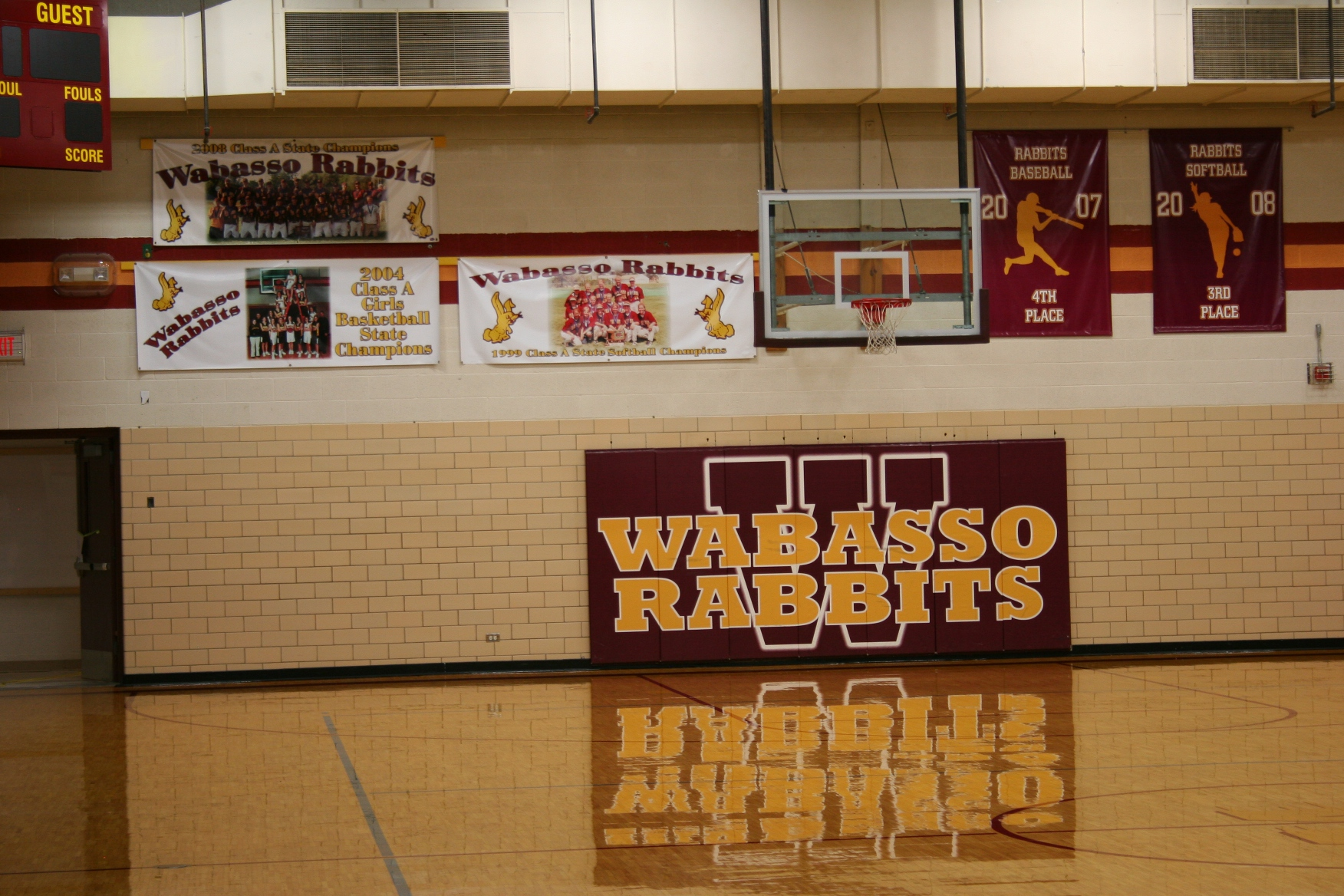 Wabasso Rabbits banner in gym   Minnesota Prairie Roots