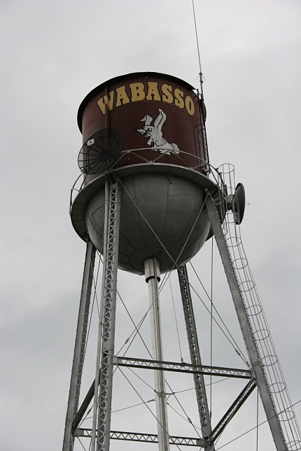 A water tower in Wabasso sports the school's mascot, a white rabbit. Minnesota Prairie Roots file photo.