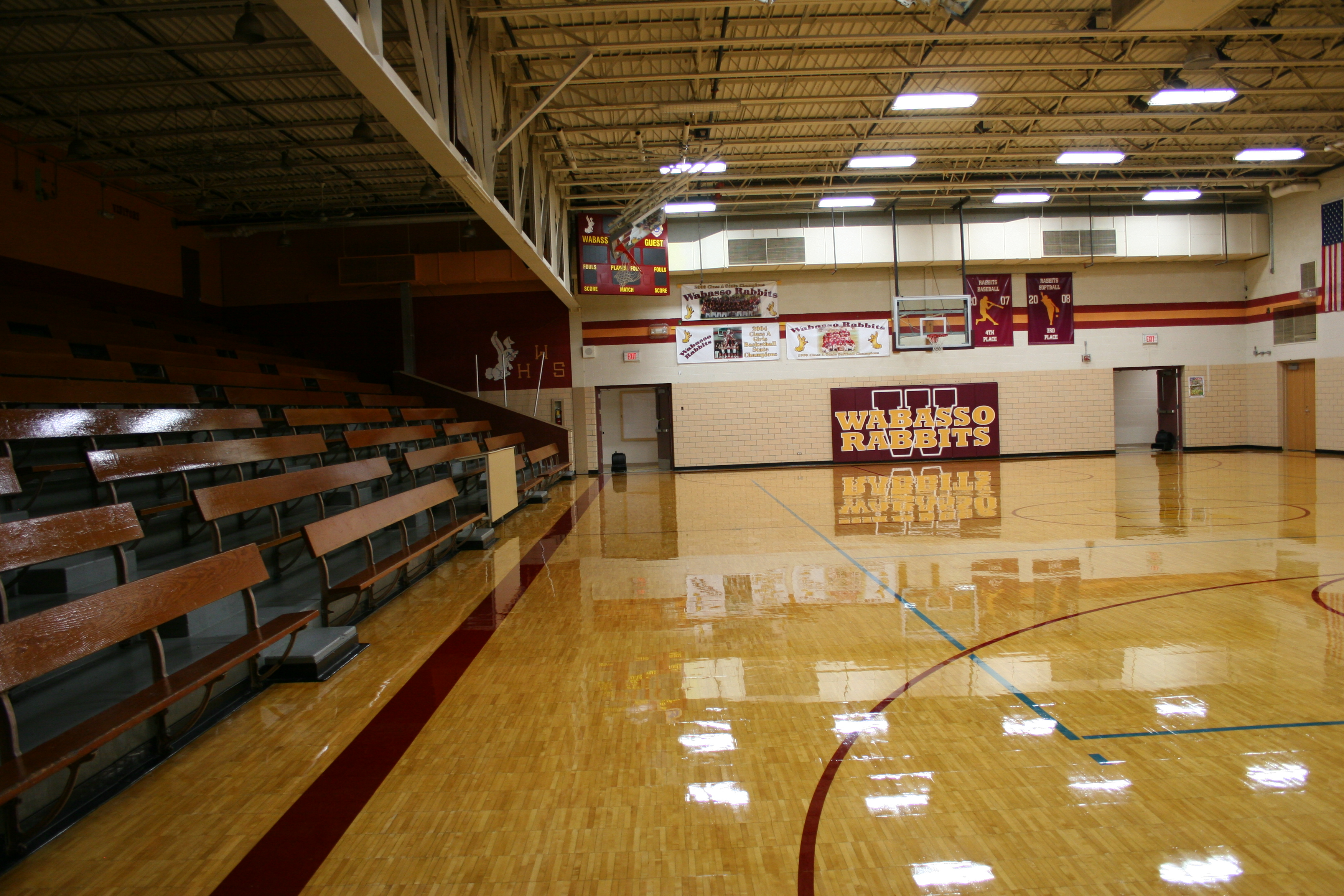 A gym at Wabasso High School, home of the Rabbits. Minnesota Prairie Roots file photo.