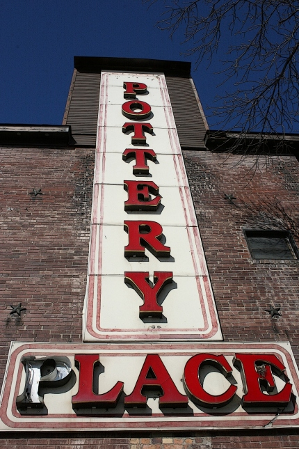 The sign which adorns this historic building.