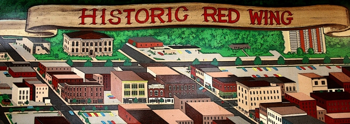 Part of an edited painting depicting Red Wing inside Pottery Place.