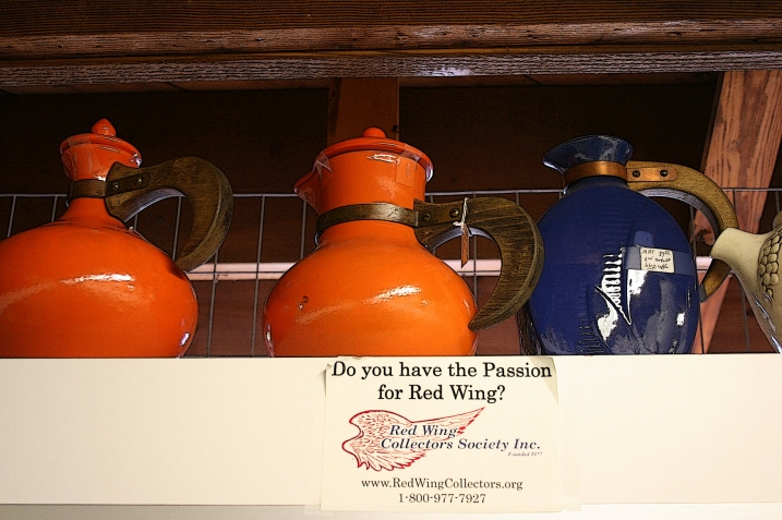 An antique store display of Red Wing pottery, I assume. It was too high to reach.