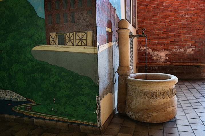 One of the first things I spotted inside an entry, this lovely water feature around the corner from the Red Wing cityscape painting above.
