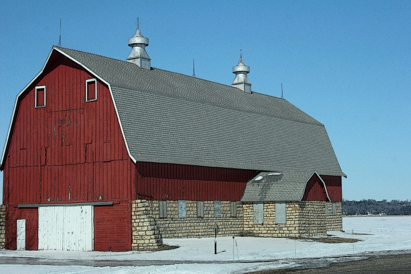 This study and well-maintained barn sits at the intersection of Minnesota Highways 19 and 56 near Stanton, east of Northfield.