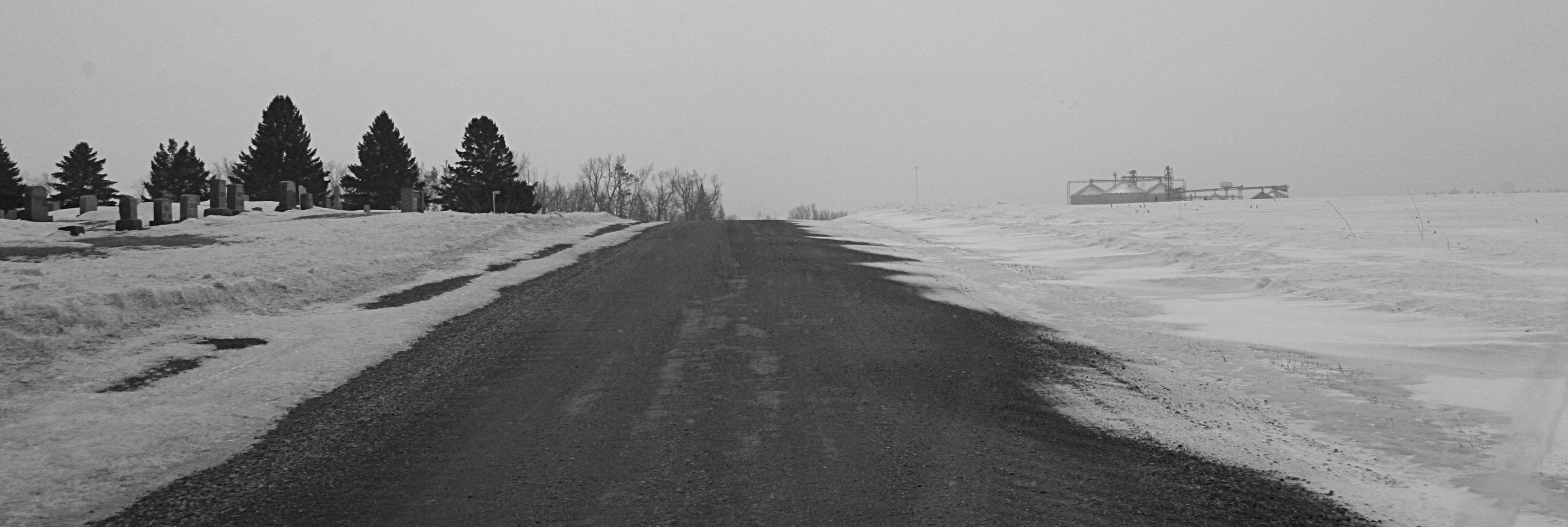 The road past the Vesta Cemetery, which sits just outside of this southwestern Minnesota town of some 330.
