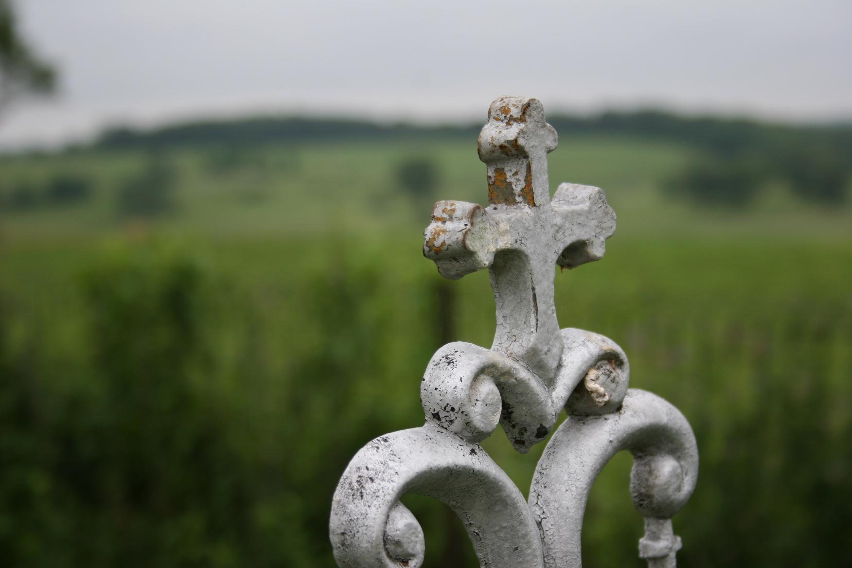 A cross in Trebon Cemetery, 10 miles northwest of Faribault in Shieldsville Township.