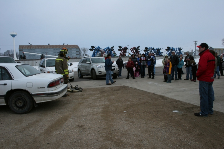 About 30 onlookers gathered outside the hall to watch the Jaws of Life demonstration.