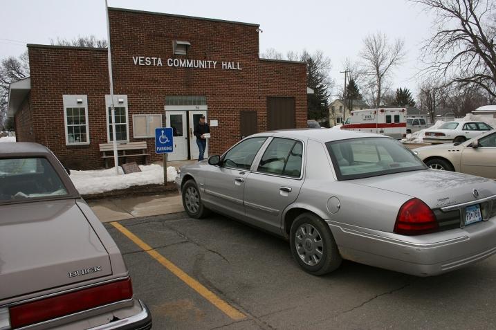 Pork chop dinner take-out at the Vesta Community Hall.