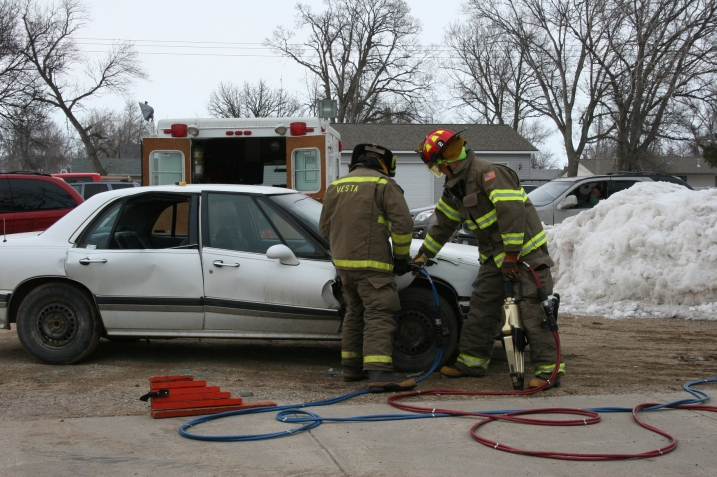 Peeling away doors with the new Jaws of Life.