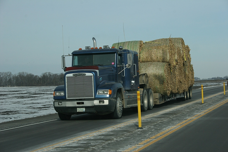 You'll see lots of semis traveling this stretch of rural Minnesota highway.