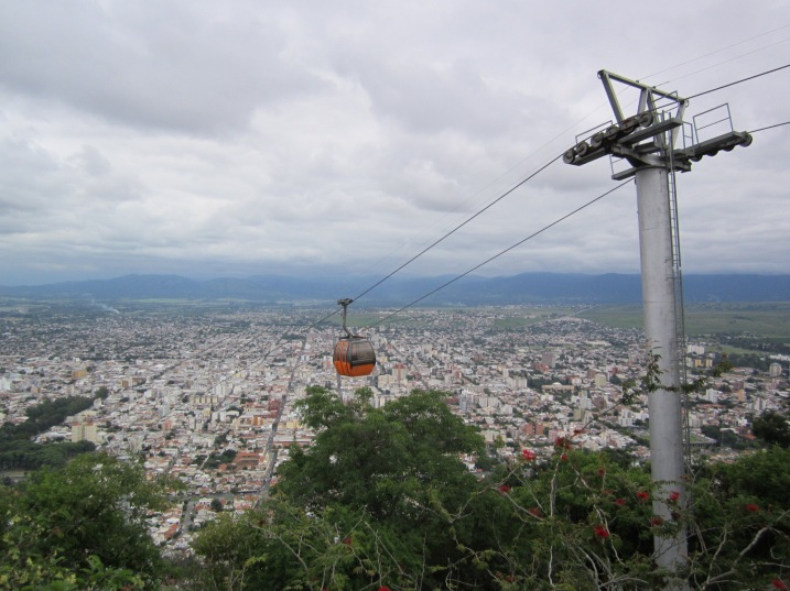 Riding the cable car in Salta.
