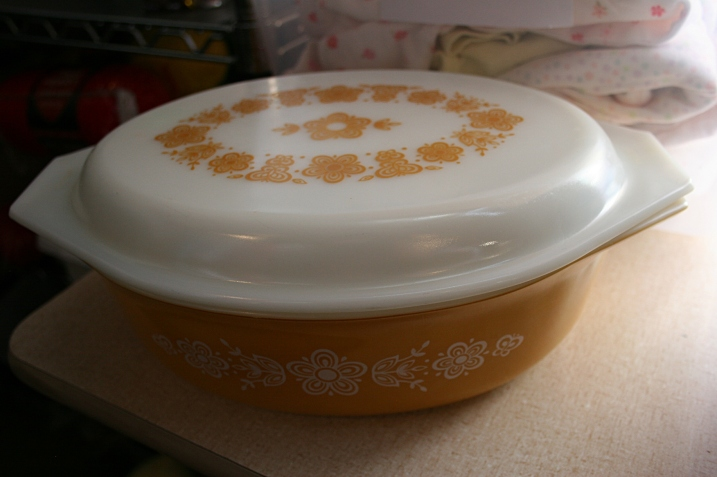 One of my favorite finds in The Store, an $8 vintage Pyrex casserole, which I nearly purchased.