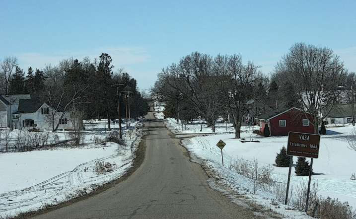 Driving into Vasa, established in 1868, according to a the historical marker, right.