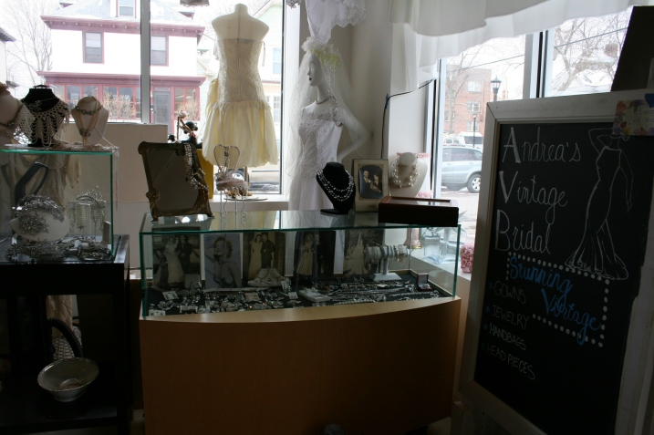 Andrea's sells an assortment of vintage merchandise that includes jewelry, displayed here.