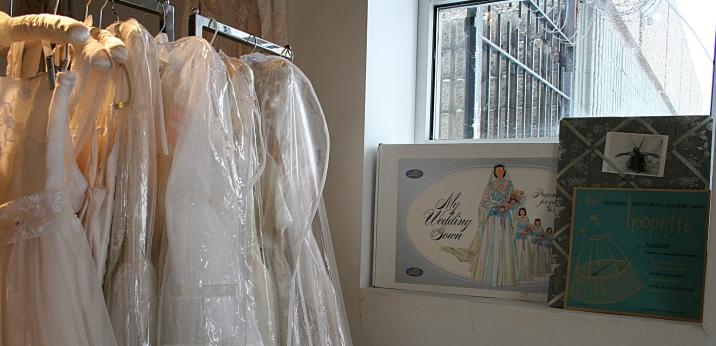 Vintage dresses, vintage signage.