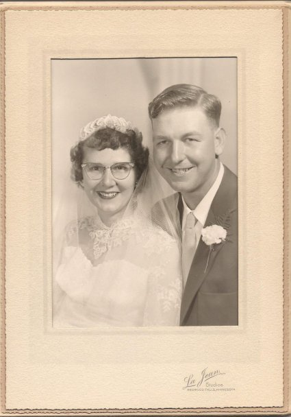 My parents, Vern and Arlene, on their September 25, 1954, wedding day.