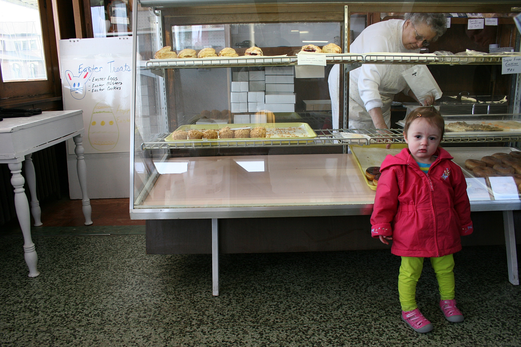 This 18-month-old Montgomery resident stopped in with her dad, grandma and sister for a treat Saturday morning.