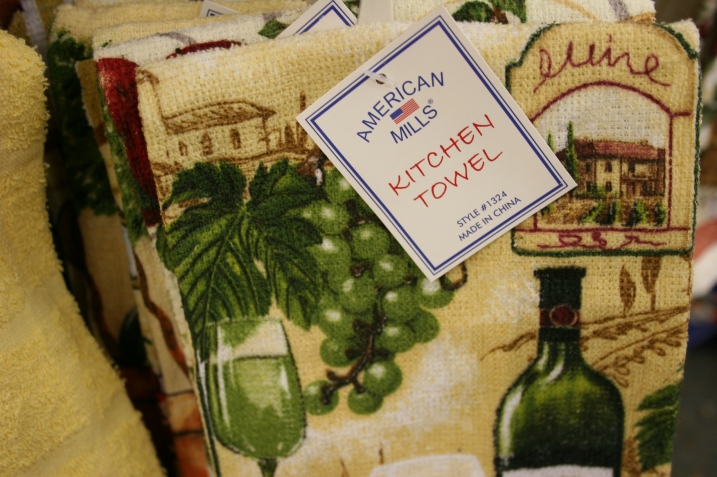 "My husband insisted I photograph these ""made in China"" towels from American Mills. He wants me to submit this to Jay Leno."