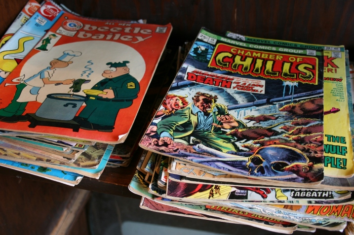 Colorful comic books found in a tiny back room of the store.