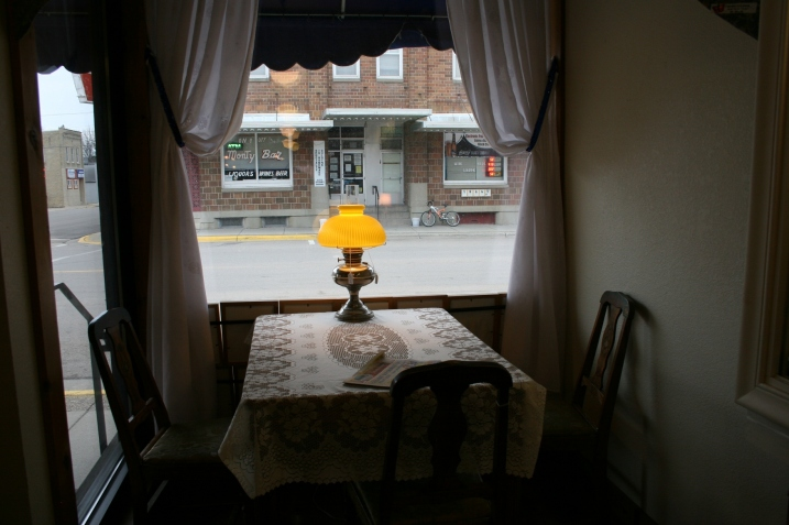 Shoppers can settle in and watch activity along First Street in this cozy corner of LaNette's shop.