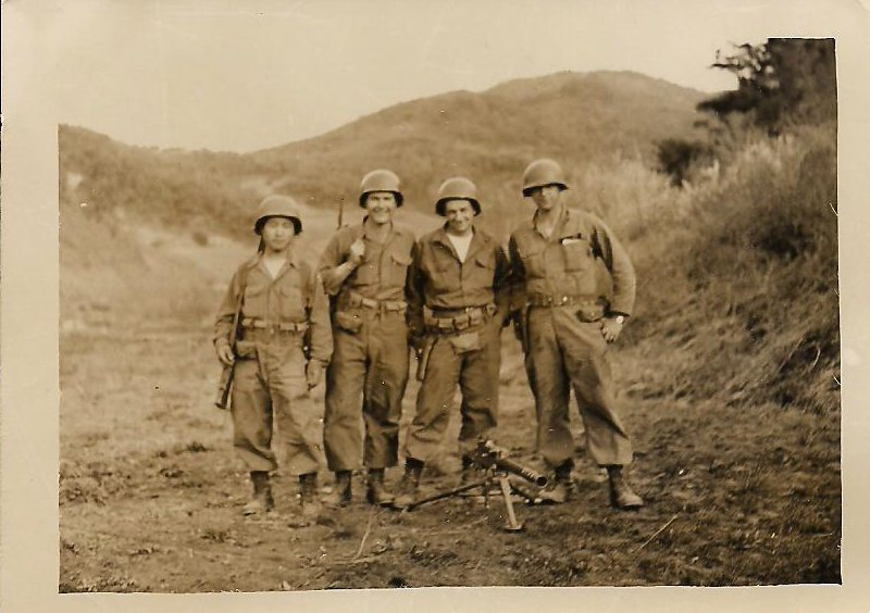 """This photo from my dad's collection is tagged as """"Kim, Rowe, Allen & me, May 1953 Machine Gun Crew."""" That's my father on the right."""