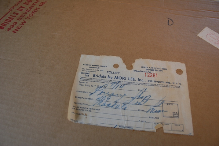 My Aunt Marilyn's bridal gown was shipped from New York to the Lorraine Shop in Mankato for 77 cents in 1961.