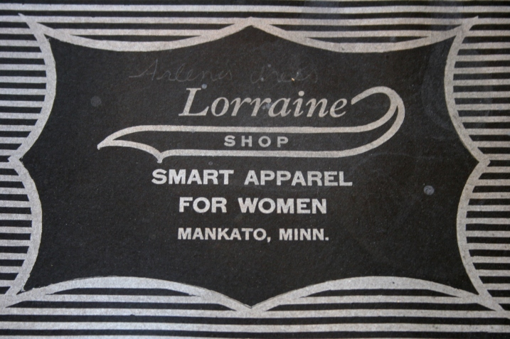 My mom's dress came from the Lorraine Shop in Mankato. You'll see my mom's name, Arlene, written on the box cover.
