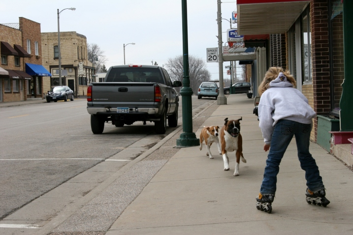 Dogs roaming and kids rollerblading along the sidewalks of Main Street.