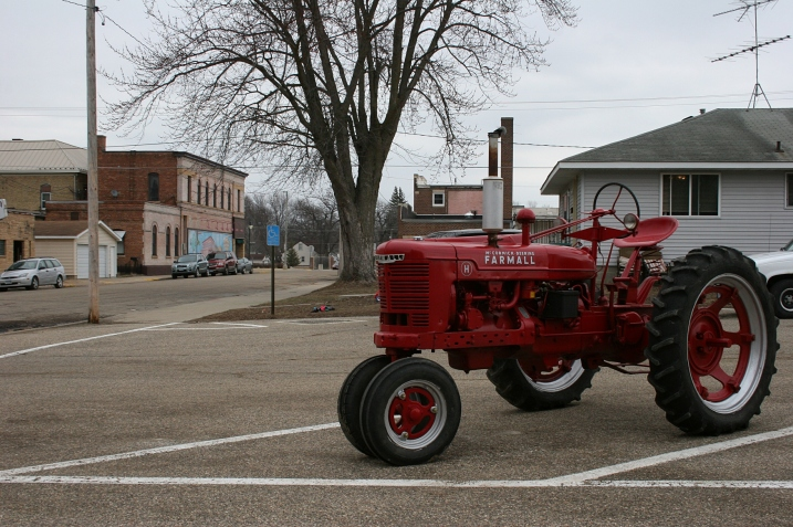 "A block off the main drag, we spotted this tractor. ""It's for sale,"" a man yelled from a window somewhere."