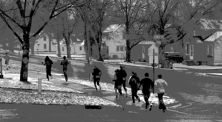 High schoolers jog past my house this afternoon in temps hovering around freezing and with a fresh layer of snow on the ground.