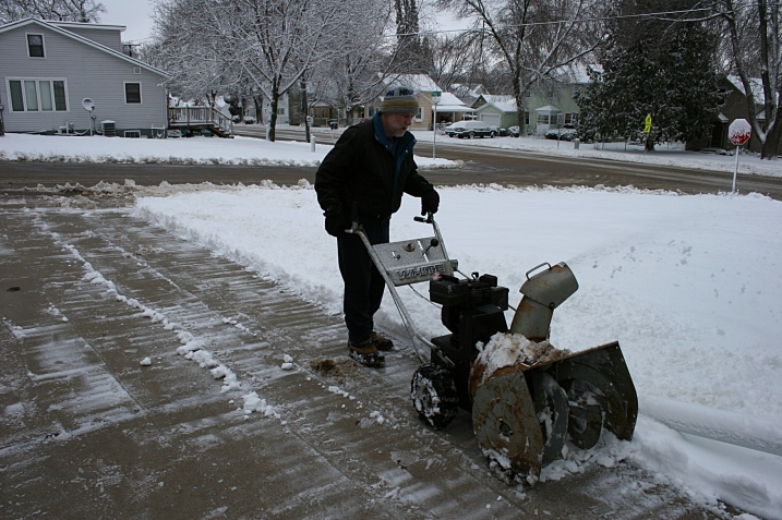 My husband cleared snow from our driveway and that of a neighbor before leaving for work in Northfield.
