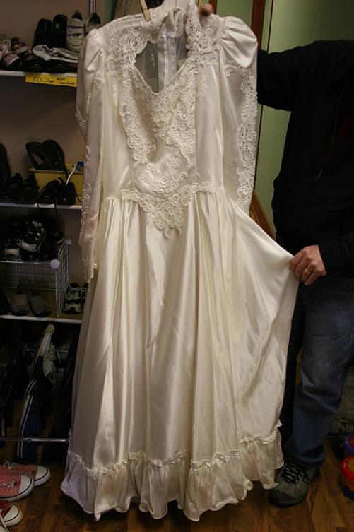 """The """"make-an-offer"""" wedding dress."""