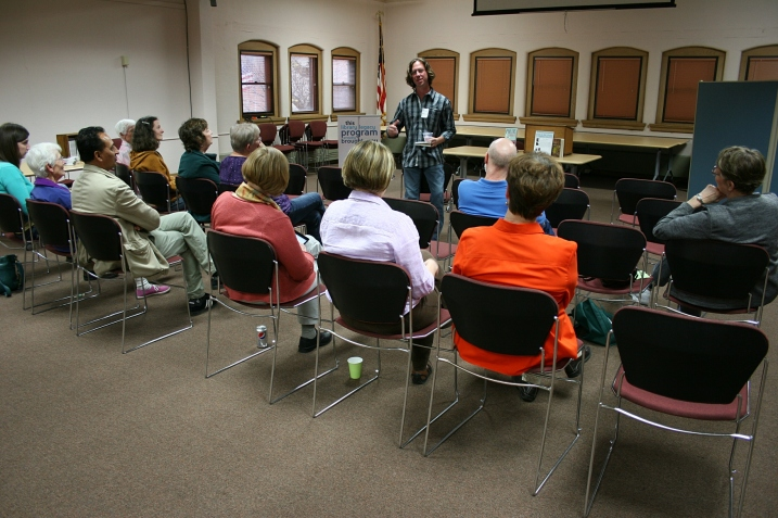 Todd Boss reads his poetry Tuesday evening at the Owatonna Public Library.