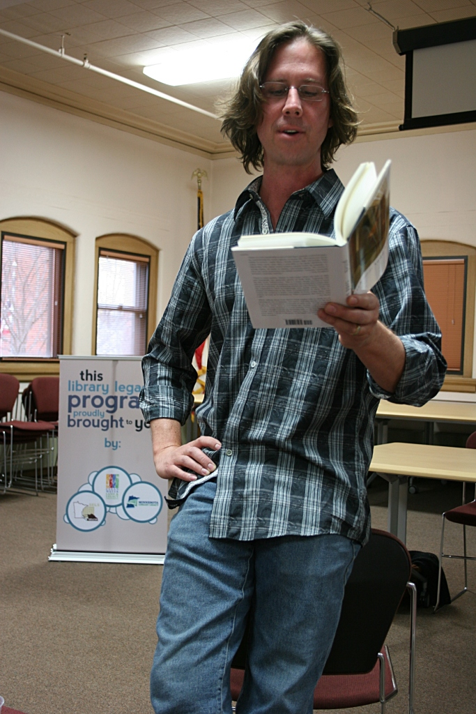 Todd Boss reads from his poetry collection, Pitch, at the Owatonna Public Library. Minnesota Prairie Roots file photo 2013.