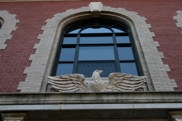Stunning eagle sculptures span the entries into the federal building.