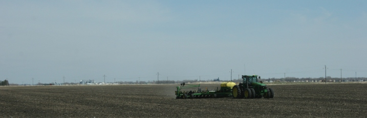 Working the field near the Sabin exit.